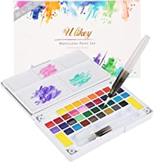 Ulikey Aquarellfarben Wasserfarben Set - 36 Wasserfarben + 1 Palette + 2 Wasser Pinsel Stift + 2 Schwamm + 5 Aquarellpapier - Perfekt für Kinder Schüler Erwachsene Anfänger Künstler Profis
