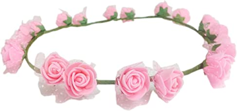Loops n Knots Pataka Collection Pink Tiara/Headband/Crown for Girls & Women -Hair Accessories for Birthday,Party & Wedding