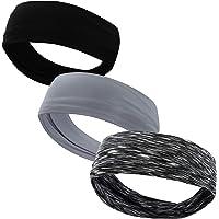 VPbest Sports Headband 3 Pack - Wide Hairband Sweatband for Men Women Unisex - Lightweight Soft Stretchy Headwear Head…