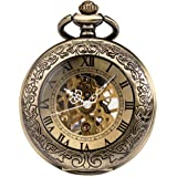 ManChDa Mens Pocket Watch Special Magnifier Mechanical Hand Wind Half Hunter Roman Numerals Antique Fob Watch with Chain + Gi