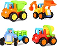 Popsugar Happy Engineering Vehicles Including Tractor / Bulldozer / Dumper / Cement MixerToy for Kids, Multicolor