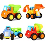 Popsugar Unbreakable Happy Engineering Vehicles Including Tractor / Bulldozer / Dumper / Cement Mixer Toy for Kids Multicolor