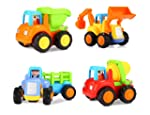 Popsugar Happy Engineering Vehicles Including Tractor / Bulldozer / Dumper / Cement Mixer Toy for Kids , Multicolor
