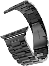 Shopizone 42mm Stainless Steel Replacement Strap with Folding Metal Claps Classic Buckle Wrist Watch for Apple Series 1 2 and 3(Black)