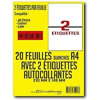 SECRETDRESSING ® - 20 planches A4 de 2 étiquettes A5 B5 = 40 étiquettes autocollantes papier adhésif blanc - 210 x 148…