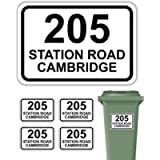 Pack of 4 Personalised Printed Wheelie Bin Number Stickers with House Number And Street Name Round Rectangle Style A4…