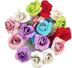 12 Pc Multi Color Velvet Rose Flower Juda/Hair / Bun Pin Hair Accessories