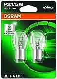Osram ULTRA LIFE P21/5W, Halogen-Signallampe, Bremslicht, Nebenschlussleuchte, 7528ULT-02B, 12V PKW, Doppelblister (2 Stück)