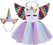 Agoky Mädchen Kleid Einhorn Haarreif Bunter Tutu Tütü Rock Cosplay Party Festzug Prinzessin Verkleidung Outfits Weinachten Fa