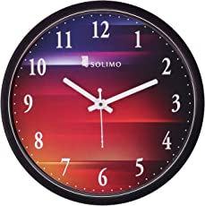 Amazon Brand - Solimo 12-inch Wall Clock - Colour hues (Silent Movement, Black Frame)