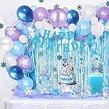 Decoraciones de Cumpleaños de Frozen Globos de Fiesta de Copo de Nieve de Frozen Corona y Cetro Globos de Látex Azul Plateado