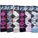 6 Pairs Ladies knee High Horse Design Cotton Rich Socks Argyle Pattern 4-7