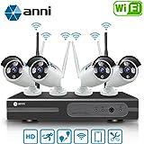 Anni 4CH 1080N HD Kit NVR systèmes de Surveillance sans Fil WiFi Kit, (4) 1.0MP 720P caméras IP de sécurité,Imperméable,Bullet,Accès à Distance P2P, Vision Nocturne de 65m,sans Disque Dur