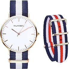 KUXIEN Damen Uhren,Unisex Armbanduhr Herren Damen Uhr,Analog Quarz Herrenuhr Damenuhr dünn Klassik Sportlich Armbanduhren