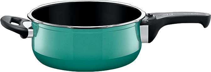 Silit Sicomatic t-plus Schnellbratpfanne 3,0l ohne Deckel, Silargan Funktionskeramik, induktionsgeeignet, spülmaschinengeeignet, grün, Ø 22 cm