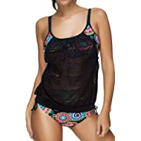 EUDOLAH Set Bikini Casual da Donna Top Elastico in Maglia e Pantaloni a Vita Alta Tankini Costumi da Bagno 2 Pezzi per…