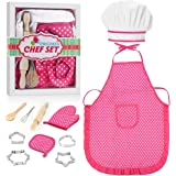 FTVOGUE Bambini Chef Set Fai da Te Cooking Baking Suit Giocattoli Set Pretend Play Clothes Grembiule Guanti Hat Cooker