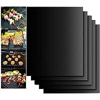 LRIO Tapis de Cuisson pour Barbecue 5 Pièces Feuille Cuisson Barbecue Tapis 40 x 33cm Anti-adhérent et Réutilisable pour…