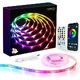 Tasmor DreamColor LED Strip Light 5m, USB Power Bluetooth Light Strips Music Sync med app fjärrkontroll, 5050 RGBIC färgbytan