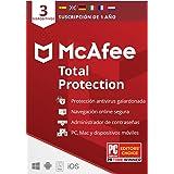 McAfee Total Protection 2021, 3 Dispositivos, 1 Año, Software Antivirus, Seguridad de Internet, Móvil,Manager de Contraseñas,