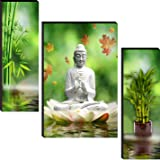 wallmax Set of 3 Religious Modern Art 6 MM MDF Framed UV Coated Multi Effect Wall Painting For Living Room 12 Inch x 18 Inch
