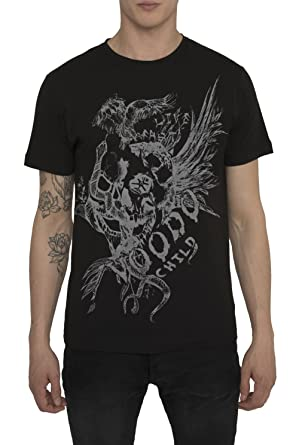 Mens Designer Cool Rock Band - Tattoo Style Black Grey Print T ...