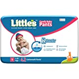 Little's Baby Pants Diapers with Wetness Indicator and 12 Hours Absorption |Small 42 Count|