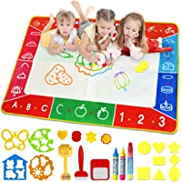 Water Doodle Mat, Larger 100 x 70cm Multicolored No Mess Water Drawing Painting Pad with 3 Magic Pens & 8 Stamps - Best Educational Toy & Xmas Gifts for Boys& Girls Age 2 3 4 5 6+ Years Old