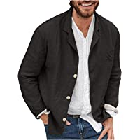KKPOL Men's Cotton Linen Suit Solid Color Long Sleeves Blazer Button Down Turn Down Collar Casual Tops Loose Fit Autumn…