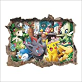 Kibi Stickers Muraux Pokémon Pikachu Autocollant Mural pour Chambre Enfants Bébé Décoration Murale Pokémon Pikachu Peel et St