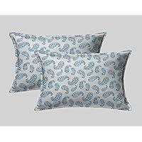 LINENWALAS Cotton 300 TC Pillow Cover, 17 x 27 Inch, Blue, 2 Pieces