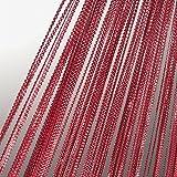 JEMIDI Fadenvorhang Lurex Tür Vorhang Gardine Schal Faden Fadengardine Erhältlich in 2 Größen (Rot, 90cm x 250cm)