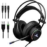 LYCANDER Gaming-Headset mit Mikrofon und LED-Licht, 3,5 mm Eingang, für PC, PS4, Xbox One, Nintendo Switch und mehr (Comfort