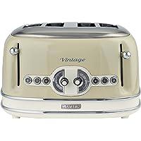 Ariete Vintage 156 Grille-pain 4 tranches, 1600 watts, 6 niveaux de grillage, en acier inoxydable peint en couleur beige pastel, sans pince