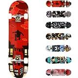 WeSkate Completo Skateboard per Principianti, 80 x 20 cm 7 Strati di Acero Double Kick Deck Concavo Skate Board per…