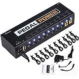 Asmuse Mini Alimentatore Pedali Chitarra Noiseless Portatile 9V 12V 18V 10 Uscite Isolate con Porta di Ricarica USB Compact P
