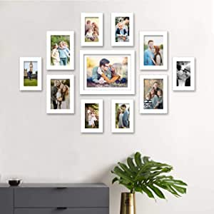 Art Street Synthetic Wood and Engineered Wood Prime Photo Frame with Hanging Accessories for Living Room (White, Mix Size, 6 Unit 4x6 Inches, 4 Units 5x7 Inches, 1 Unit 8x10 Inches) - Set of 11