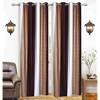 Ab home decor Set of 2pc Premium Heavy Fabric Elegant Ringtop Plain Polyester Eyelet 9ft Long Door Curtains-Coffee n Cream