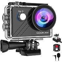 GOOKAM Go 3 Action Cam 4K WiFi Actionkamera 20MP Unterwasserkamera Wasserdicht 40M EIS Sportkamera mit Externem Mikrofon…