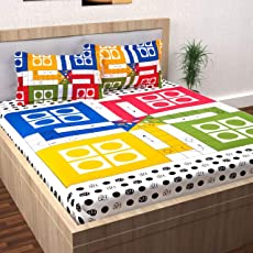 SinghsVillas Decor Ludo Design Cotton Double Bedsheet With 2 Pillow Covers-King ,Multicolor