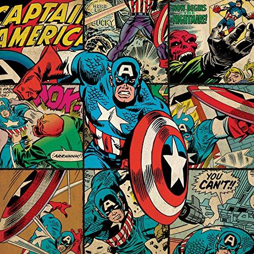 71NKBAew6lL - Marvel Comics Impresión en Cuadro de Lienzo Capitán América, 40x 40cm