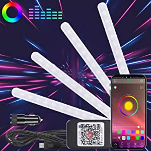Winload Led Interior Lighting Car 48 Led Interior Lighting With Usb Port Multicoloured Rgb Car Atmosphere Strip Lights App Controllable Music Voice Control Light Strip Kit With Cigarette Lighter Auto
