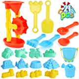 DraMosary 22pcs Beach Sand Toys Set for Kids with Assembled Sand Water Wheel, Beach Bucket, Watering Can, Shovel Tool Kits an
