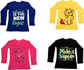 IndiWeaves Girls Cotton Full Sleeve Printed T-Shirt Pack of 4