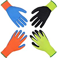 2 Pairs Kids Garden Gloves for Age 2-3, Age 4-5, Age 6-13, Foam Rubber Coated Gardening and Work Gloves for Girls Boys…