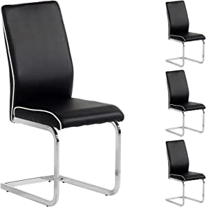 IDIMEX Lot de 4 chaises de Salle à Manger Jimena piètement chromé revêtement synthétique Noir