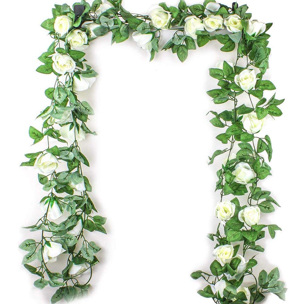 mi ji Flores Artificiales 2,5M simulación Flor de Rose Rattan Vine Wisteria Seda Garland Colgando de la Rota por Arco de…