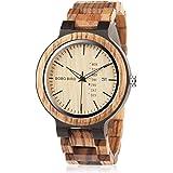 BOBO BIRD Reloj de pulsera de madera para hombre analógico de cuarzo con pantalla semanal ligero hecho a mano reloj de pulser