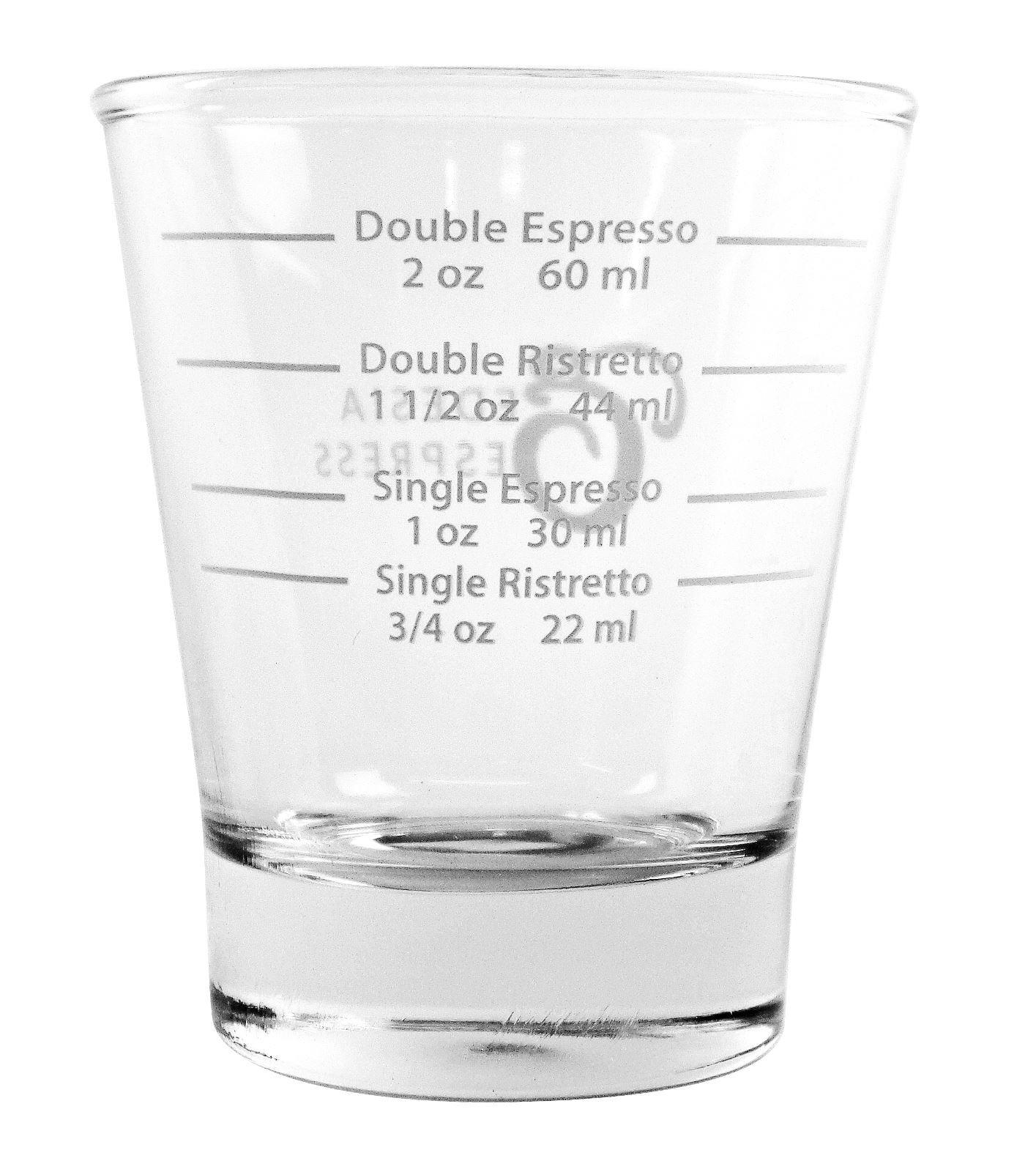 71NMViFCK L - White Lined Espresso Shot Glass Measure for Coffee Espresso Machines - 85ml - by EDESIA ESPRESS