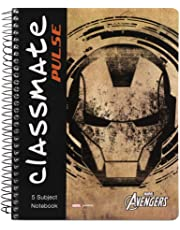 Classmate 2100128 Soft Cover 5 Subject Spiral Binding Notebook, Single Line, 250 Pages (Assorted cover design)